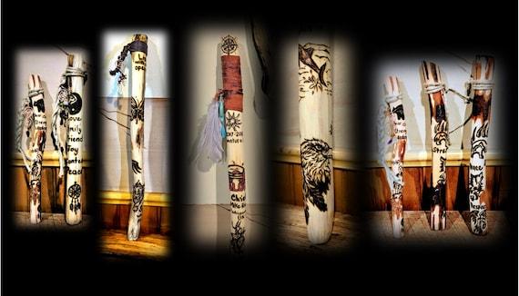 Talking stick - class room, aid, classroom, shamanic -  hiking stick - walking stick