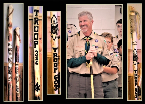 Troop leader gift,scout master gift,retirement gift,Scout leader gift,Scout gift,hiking stick,walking stick,scout troop,eagle scout