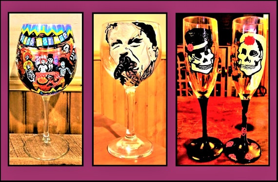 wine gift, wine lovers, painted wine glass, painted glasses, hand painted, wine glass, champagne, champagne flutes - Gothic wedding