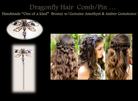 Hair comb, hair pin, hair styles dragonfly, gifts, mother, daughter, necklace, dragonflies