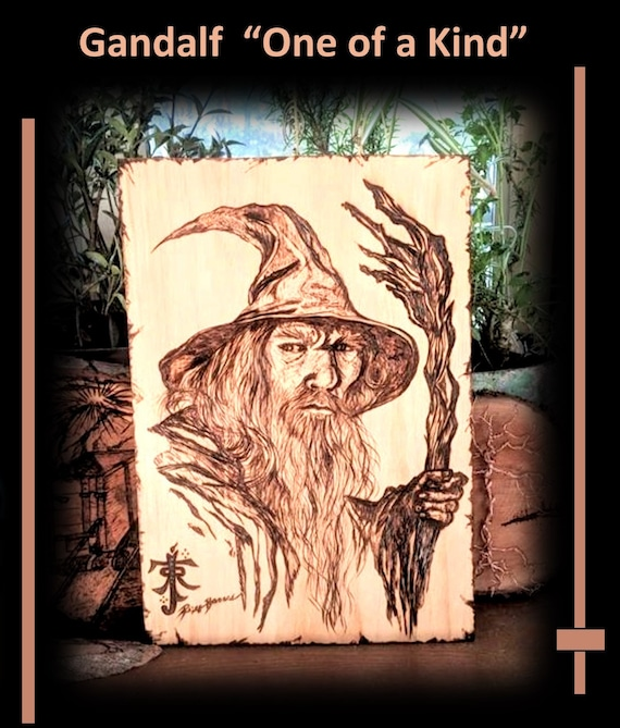 Gandalf, One of a kind, wood burned, husband gift , brother gift,  wood Anniversary gift