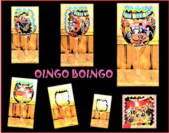 oingo boingo, painted wine glass - painted glasses - hand painted - wine glass - champagne - skulls - champagne flutes - Gothic wedding