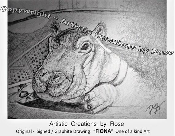 hippo,fiona,famous, pandas, fan art, heres johnny,  jack nicholson, Jason Mamoa, Original art, print, Graphite,dog,pet portraits