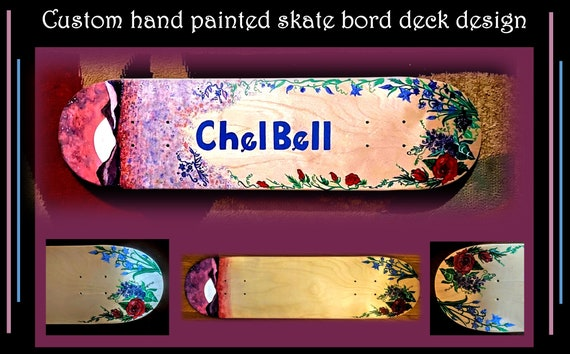 skate board, deck, custom, painted, designed, skateboard, hand painted, girlfriend gift, boyfriend gift