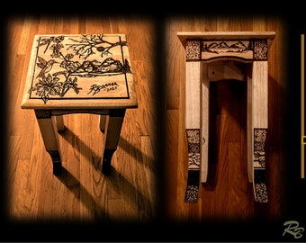 accent table, tea table, side table, end table, wood table, cabin décor, rustic décor, hand made, wood burned, decorative table