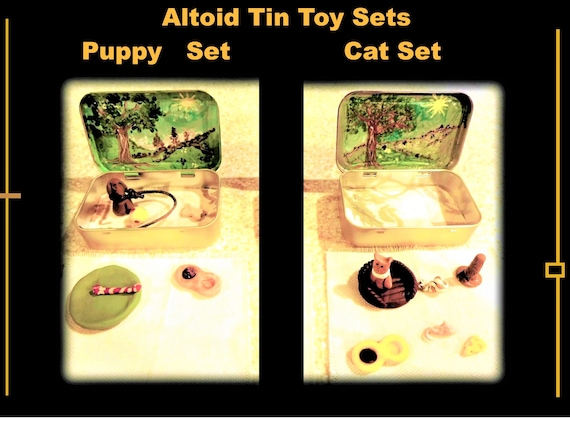 Altoid Tin, toys, puppy, cat, set,toy set,  child toy, learning, childhood, fun, doll house food,play set,purse toy,mini toys
