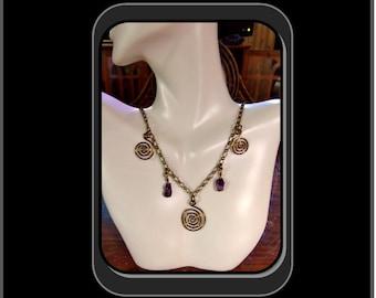 Amethyst jewelry,Spiritual jewelry, healing jewerly, zen jewerly,calmness, Sacred Spriral