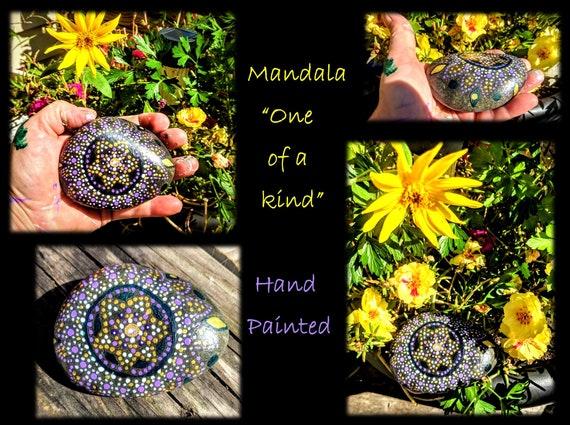 mandala,rock, Buddha, zen, healing , gift, meditation, hand painted, healing