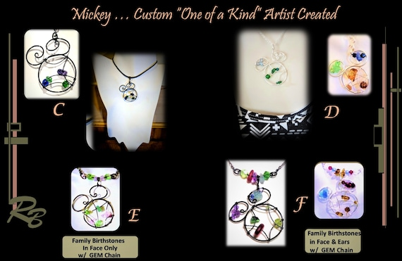 wife, gift,Mother, jewelry,Disney lovers gift, mickey, family  birthstone, necklace, February birthstone jewelry,