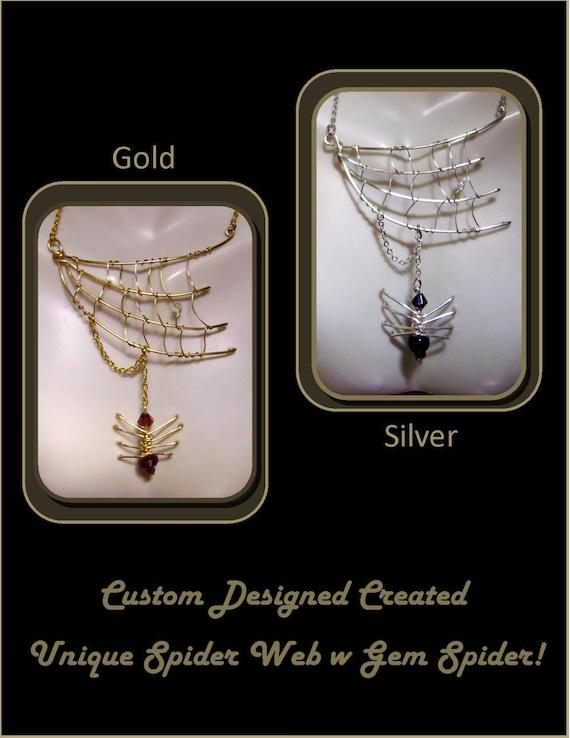 halloween jewelry, gothic jewelry, spider jewelry, spider web jewelry, biker jewelry orb weaver, spider web necklace,  spider necklace, webs
