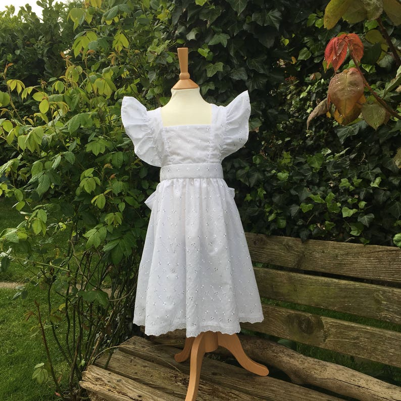 Girls Broiderie Anglais White Alice Pinafore Apron, Wedding, Party Cover Over