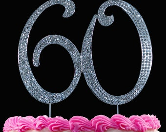 60th Birthday Cake Toppers Bling Topper 60 Anniversary Silver Or Gold