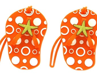 edcb7b9df5e71 Flip Flop Luggage Tags with Starfish Set of 2 Luggage Tag Gifts - 4 Colors Beach  Themed Party Favors Travel Gifts