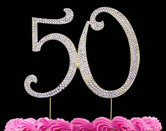50th Birthday Cake Topper 50 Bling Anniversary Large Silver Or Gold