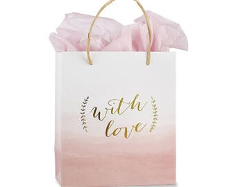 d11dc4b73cea 12 With Love Pink Watercolor Gift Bags - Party Welcome Bags Wedding Gift  Bags Bridal Shower Gift Bags Bridesmaid Gifts