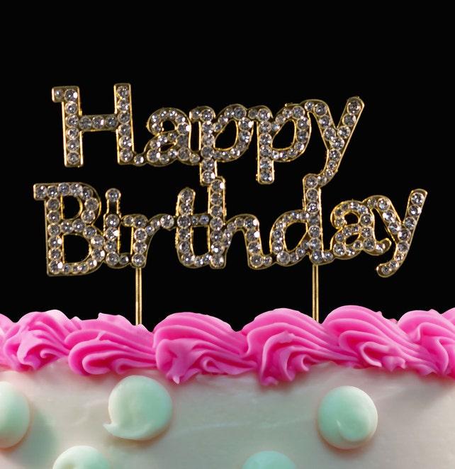 Gold Happy Birthday Cake Toppers Bling Birthday Party Cake Etsy