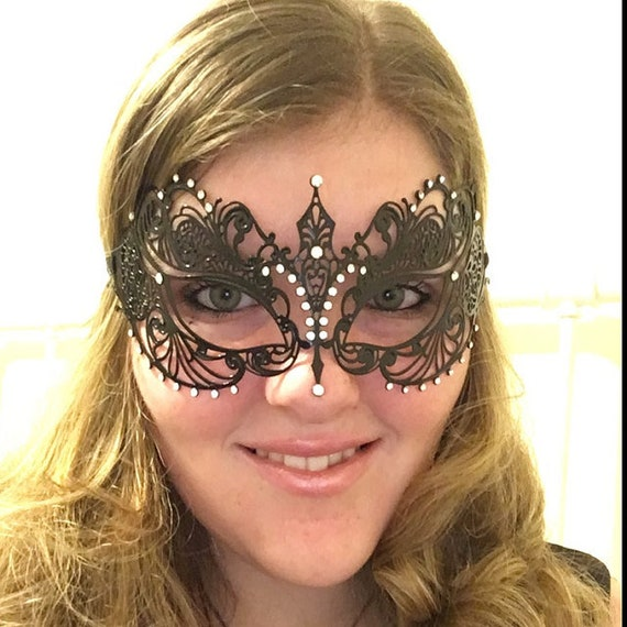 Lovely Rose Gold Metal Venetian Masquerade Mask with Clear Stone