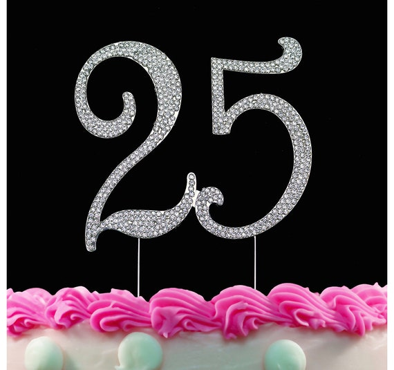 25th Birthday Crystal Cake Toppers Silver Bling