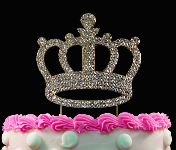 Gold Crown Birthday Cake Toppers Bling Princess Topper