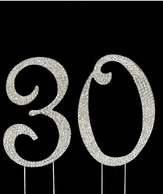 30th Birthday Cake Toppers Silver Bling Topper