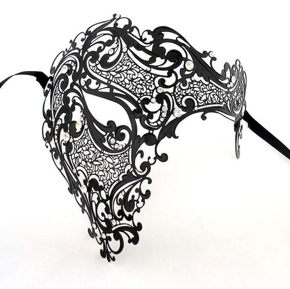 Men Devil Skull Laser Cut Venetian Masquerade Mask with Red Rhinestones Event