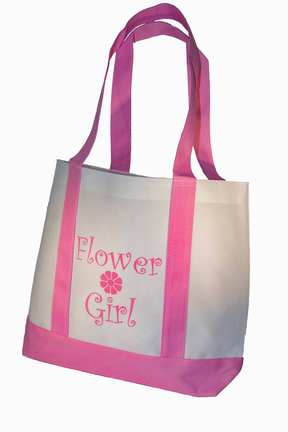Flower Girl Tote Bag with Pink Straps Wedding Flower Girl | Etsy
