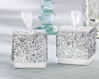 24 Silver Glitter Favor Boxes Sparkle and Shine Party Favors wedding Favor Boxes