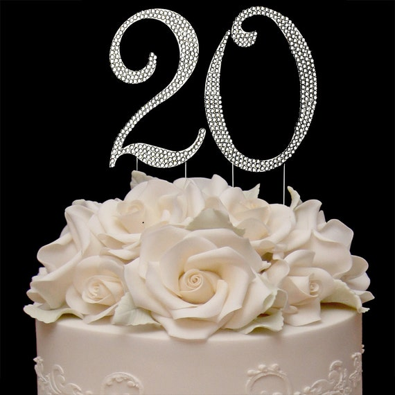Surprising 20Th Birthday Crystal Cake Toppers Silver Bling Birthday Cake Etsy Funny Birthday Cards Online Overcheapnameinfo