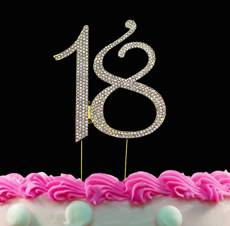 18th Birthday Cake Toppers Bling Crystal Topper 18 Silver
