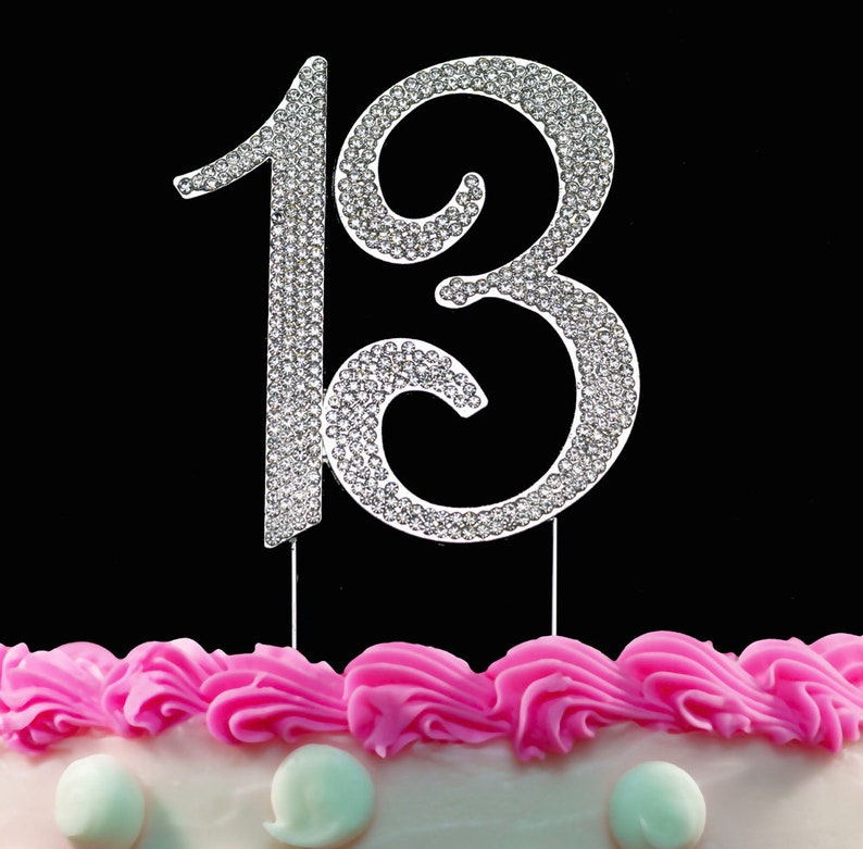13th Birthday Cake Toppers Crystal Number 13 Rhinestone Bling