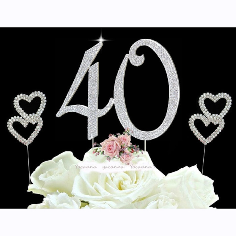 Fine 40Th Birthday Cake Toppers Silver Diamante Bling Cake Topper Etsy Funny Birthday Cards Online Alyptdamsfinfo