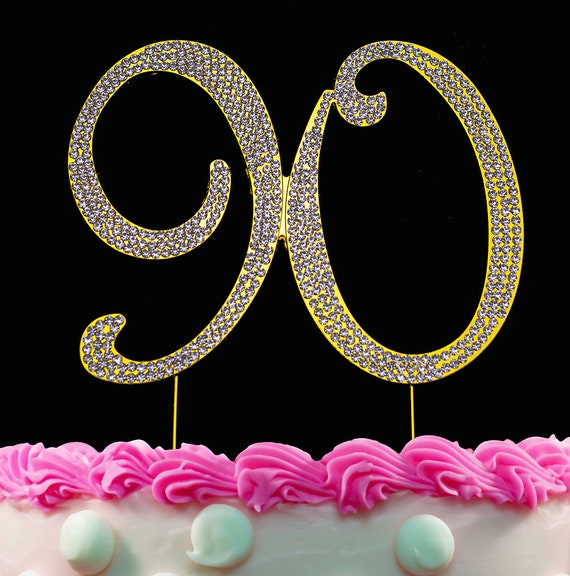 90th Birthday Cake Toppers Gold Bling Topper 90