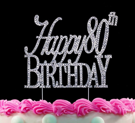 Admirable 80Th Birthday Cake Toppers Silver Bling Happy 80Th Birthday Etsy Funny Birthday Cards Online Aboleapandamsfinfo