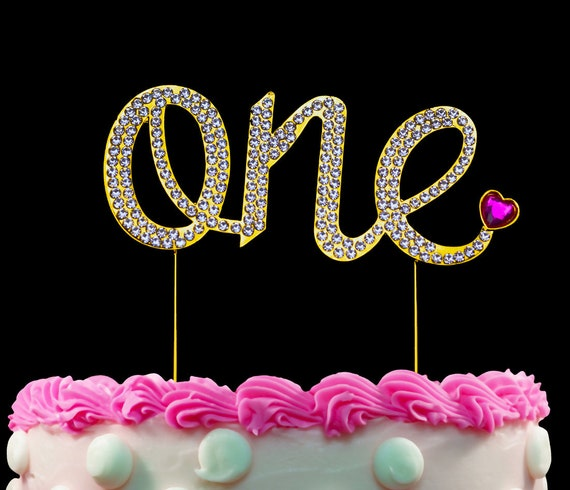 Astounding 1St First Birthday Gold One Cake Topper Pink Heart Sparkling Etsy Funny Birthday Cards Online Aboleapandamsfinfo