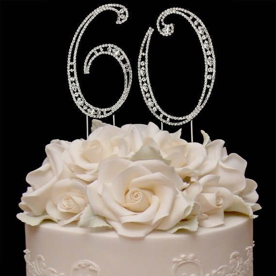 Vintage Cake Number 60 Birthday Toppers Anniversary