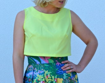 SALE ITEM!! Womens sleeveless crop top, bright yellow top, shift top, plain top