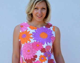 Womens sleeveless top bright pink, vintage fabric, floral print, size medium