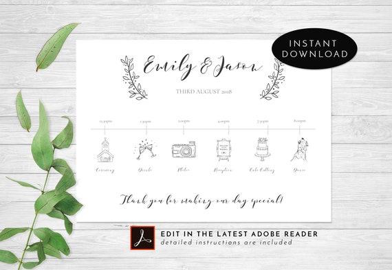 wedding timeline wedding program wedding itinerary template etsy