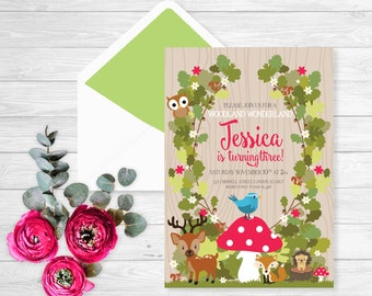 Birthday Forest friends party invitation | Forest Birthday Invitation | woodland invitation | woodland birthday | Woodland baby shower