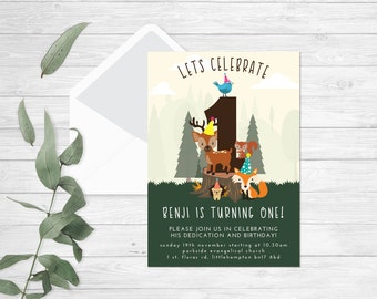 One Birthday Forest friends party invitation | Forest Birthday Invitation | woodland invitation | woodland birthday | Woodland birthday