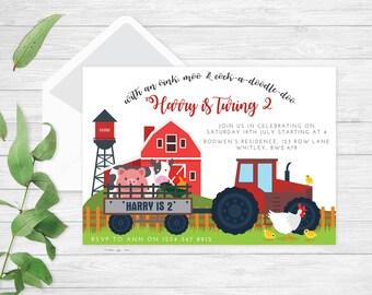 Farm birthday invitation | farm birthday party | farm invitation | barn invitation | barnyard invite | printable party invite | printable