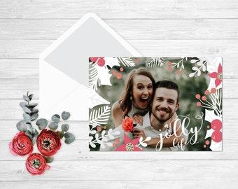 Holly Jolly christmas card, Christmas photo card printable merry christmas photo christmas cards printable, photo christmas card templates