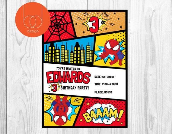 Spiderman Invites With A Comic Theme Birthday Invitation