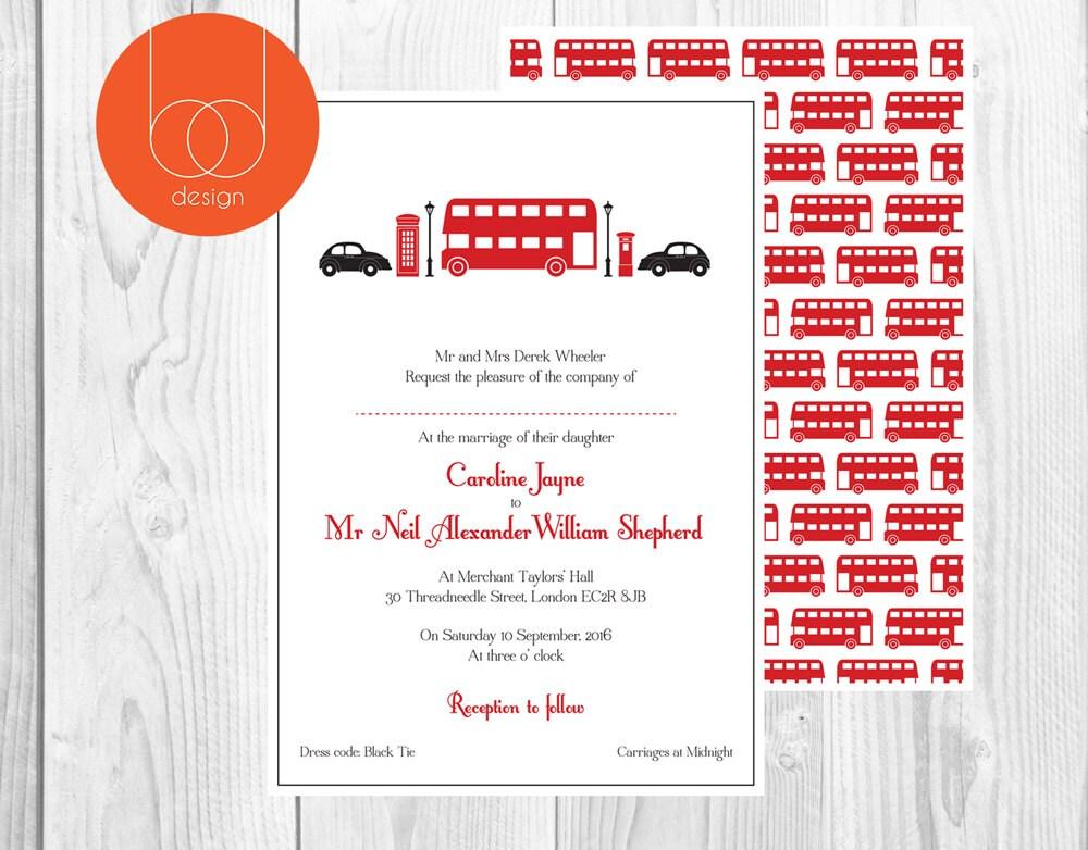 Wedding Gifts London: London City Wedding London Wedding Invitation Red Bus