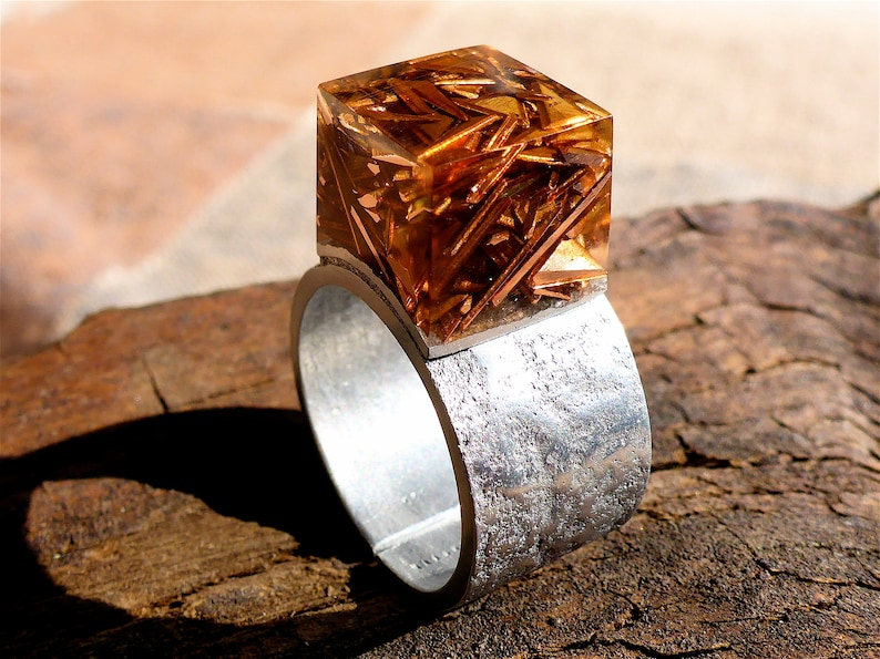 copper aluminum ring female-copper resin ring-epoxy ring-transparent cube ring-couple gift-original couple gift-OOAK