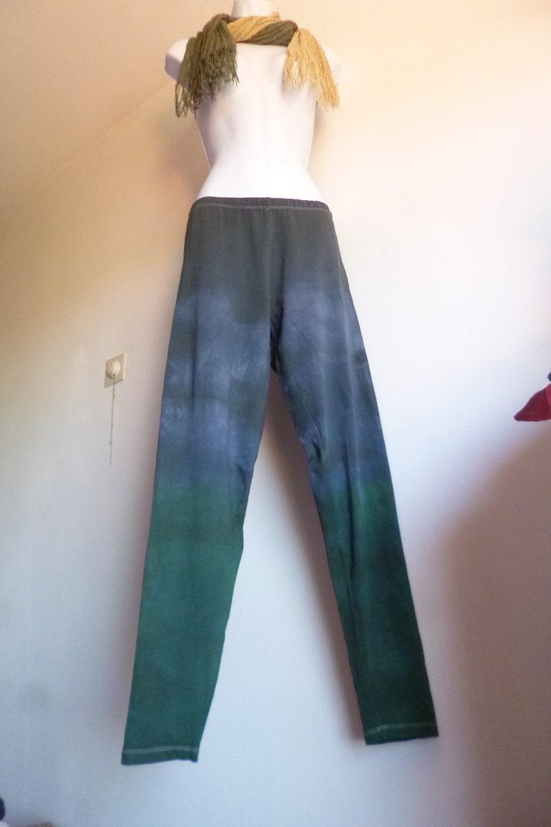 nomad yoga leggings shibori ethnic batik leggings stretch cotton craft dye green black tie dye wide long tie dye OOAK