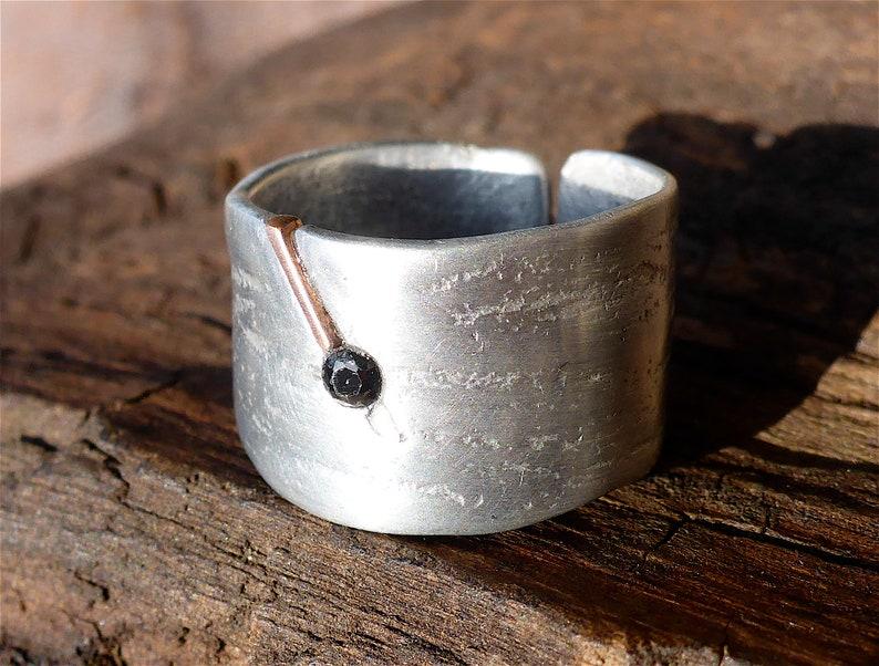 unique ring handmade disc ring women/'s craft ring women/'s Celtic ring original textured ring copper aluminium ring