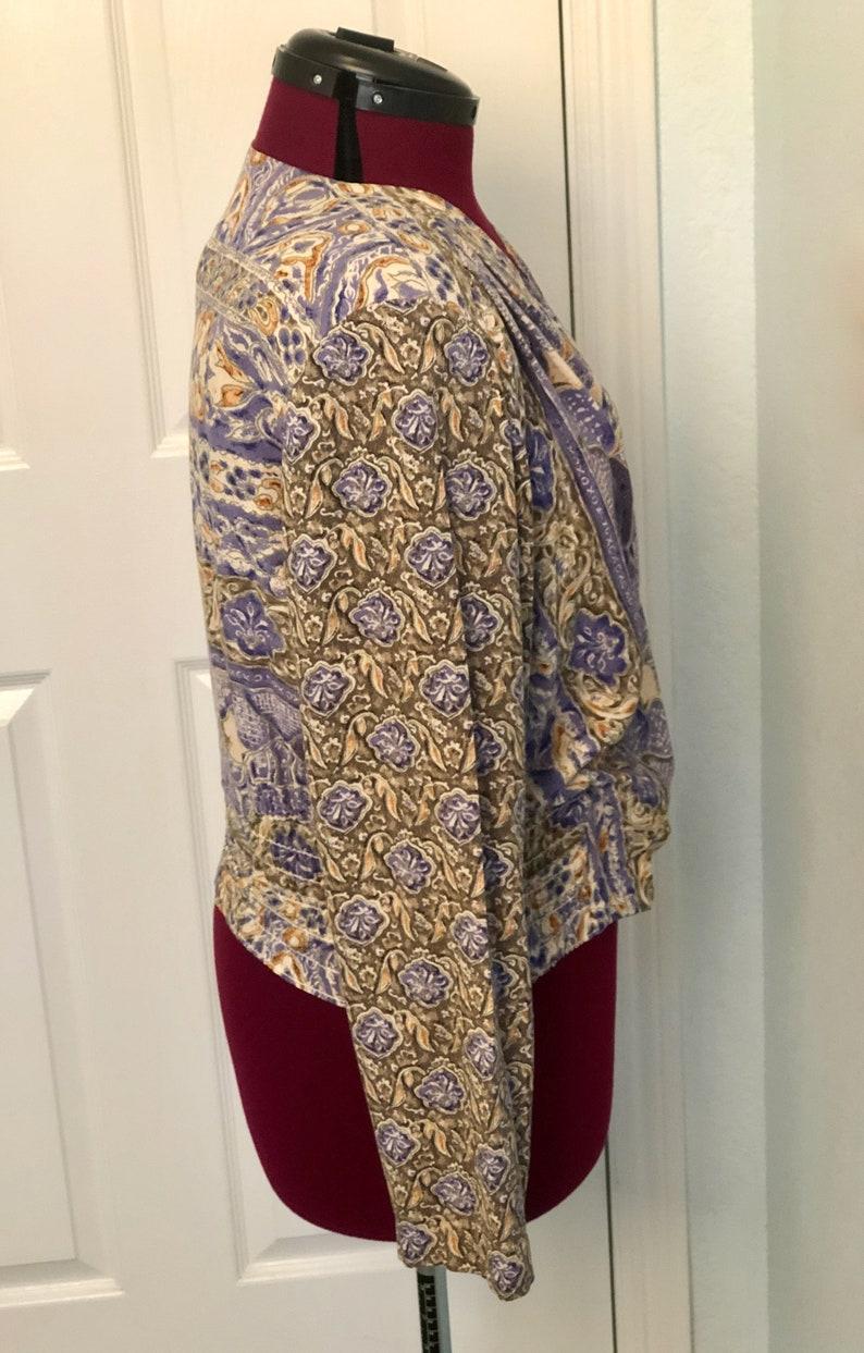 Vintage Carole Little short top blouse long sleeves wrap style