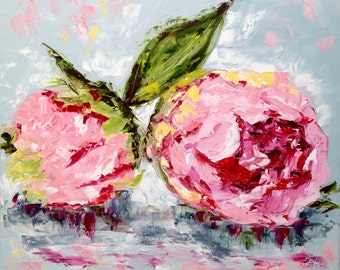 """Two Pink Peonies - abstract impression original hand embellished wrapped giclee print 24""""x24""""image blured around 1.5"""" edge"""