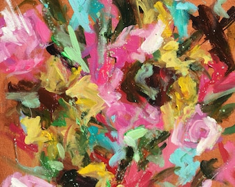 """Bunch of Peonies snd Sunflowers - abstract floral in acrylic 20""""x24""""flowers, pink, red, botanical"""